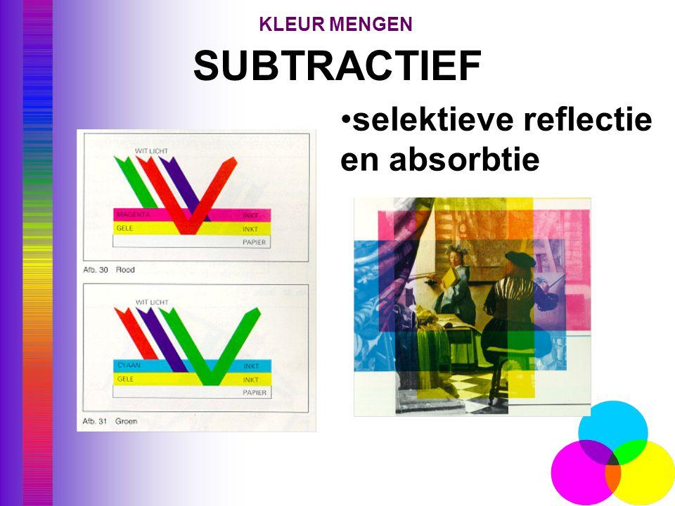SUBTRACTIEF verklaring •selektieve reflectie en absorbtie KLEUR MENGEN