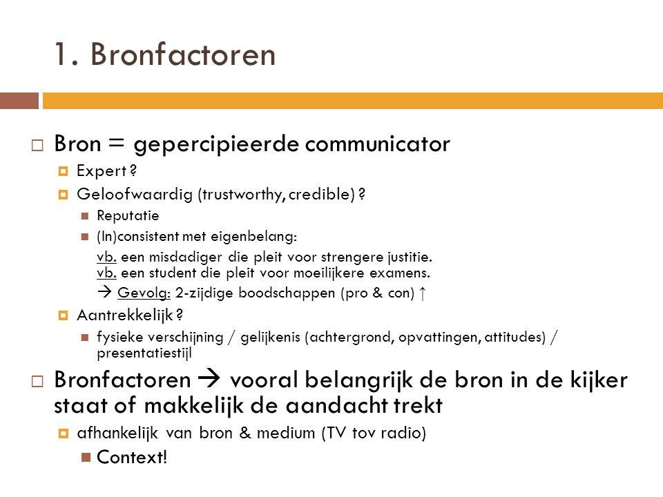 1. Bronfactoren  Bron = gepercipieerde communicator  Expert ?  Geloofwaardig (trustworthy, credible) ?  Reputatie  (In)consistent met eigenbelang