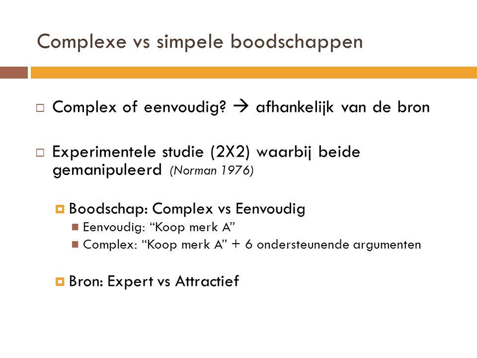 Complexe vs simpele boodschappen  Complex of eenvoudig?  afhankelijk van de bron  Experimentele studie (2X2) waarbij beide gemanipuleerd (Norman 19