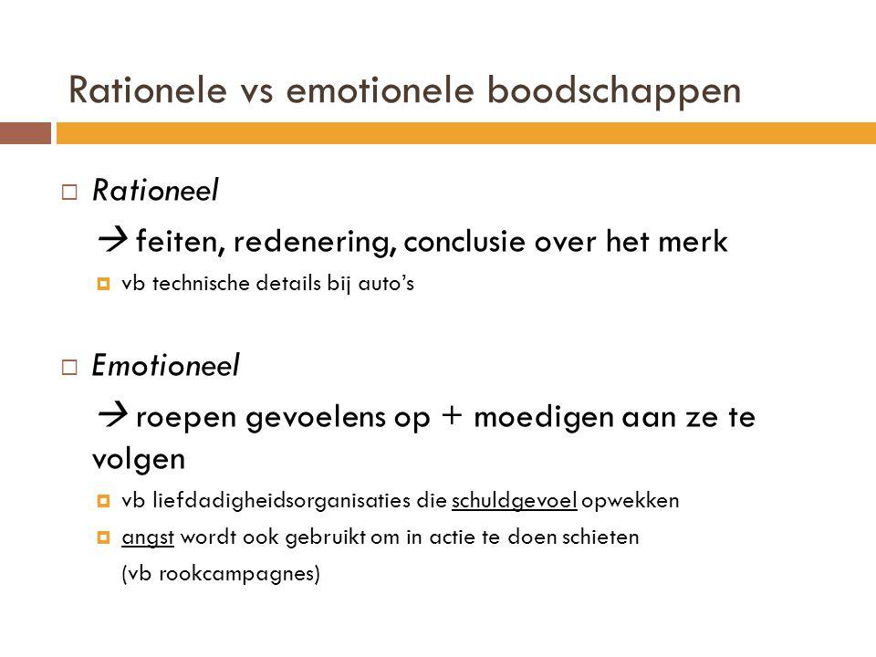 Rationele vs emotionele boodschappen  Rationeel  feiten, redenering, conclusie over het merk  vb technische details bij auto's  Emotioneel  roepe