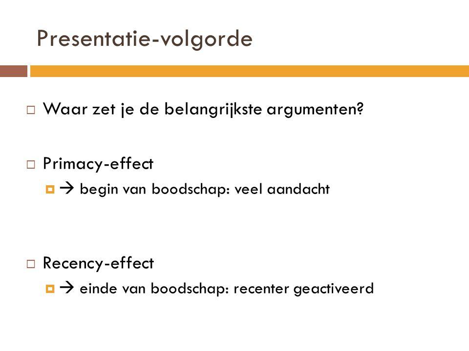 Presentatie-volgorde  Waar zet je de belangrijkste argumenten?  Primacy-effect   begin van boodschap: veel aandacht  Recency-effect   einde van