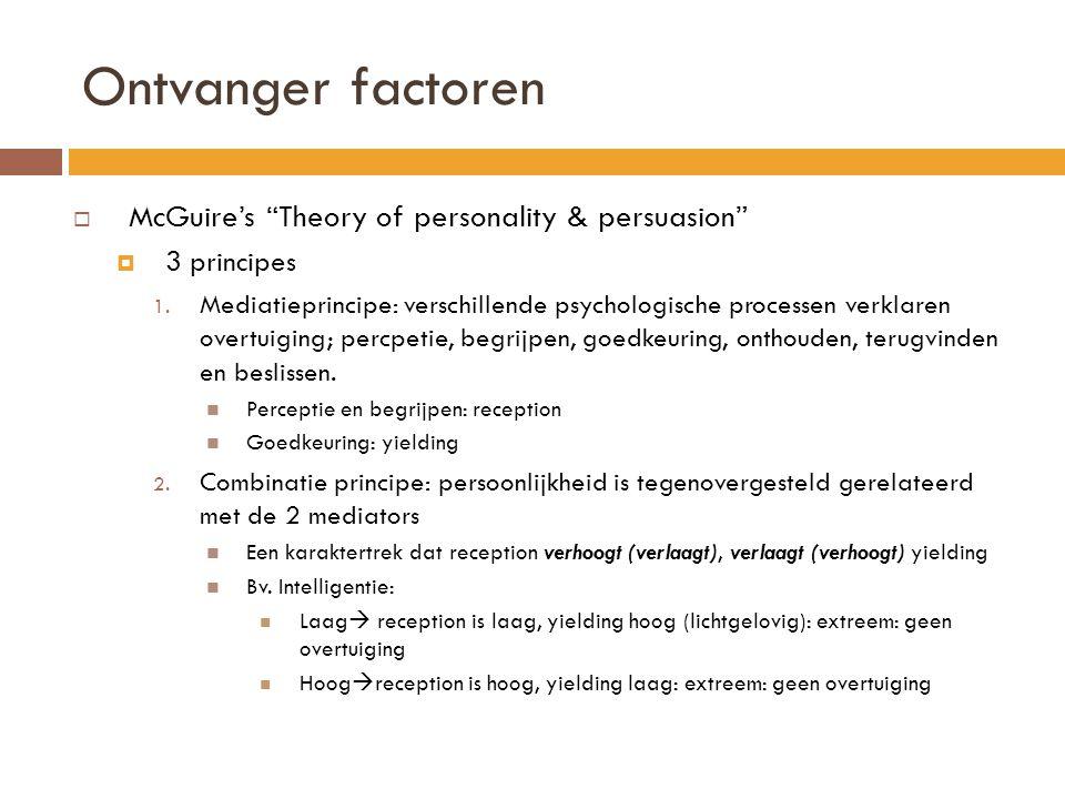 """Ontvanger factoren  McGuire's """"Theory of personality & persuasion""""  3 principes 1. Mediatieprincipe: verschillende psychologische processen verklare"""