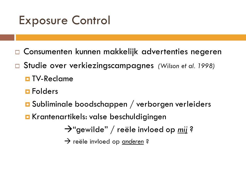 Exposure Control  Consumenten kunnen makkelijk advertenties negeren  Studie over verkiezingscampagnes (Wilson et al. 1998)  TV-Reclame  Folders 