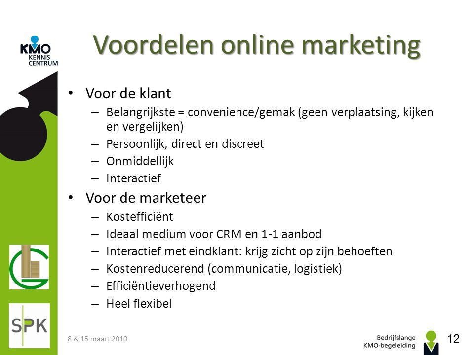 Voordelen online marketing • Voor de klant – Belangrijkste = convenience/gemak (geen verplaatsing, kijken en vergelijken) – Persoonlijk, direct en dis