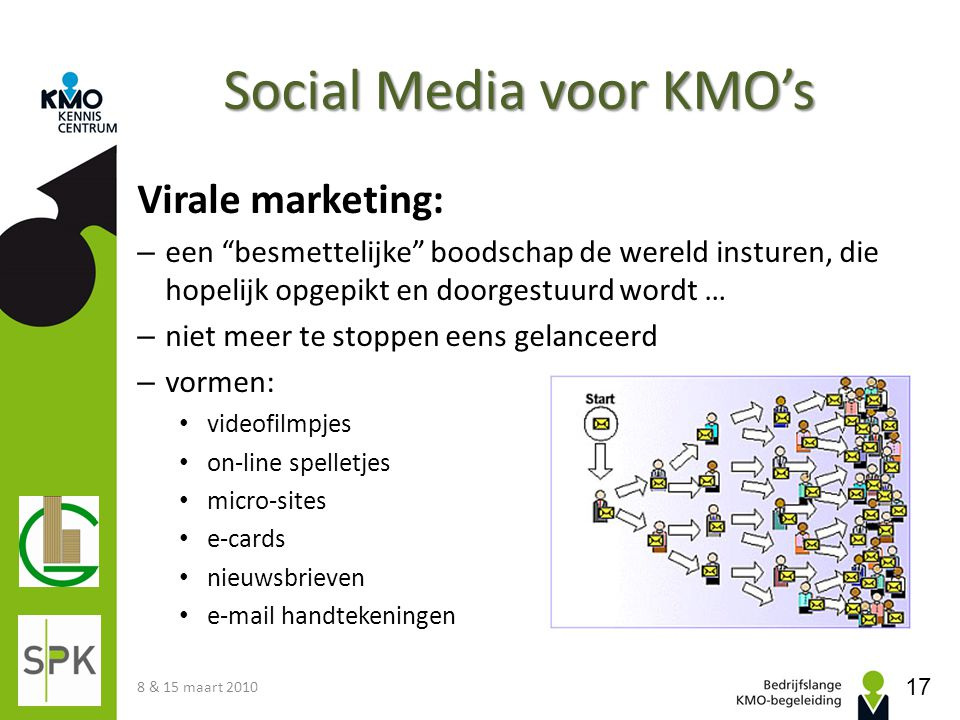 """Social Media voor KMO's Virale marketing: – een """"besmettelijke"""" boodschap de wereld insturen, die hopelijk opgepikt en doorgestuurd wordt … – niet mee"""