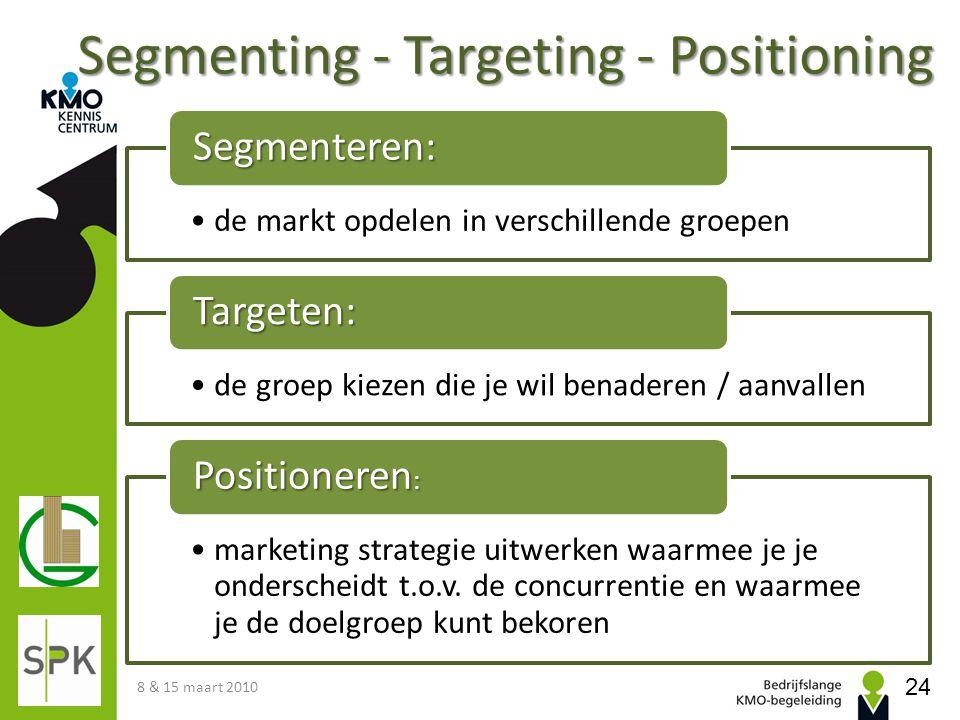 Segmenting - Targeting - Positioning 8 & 15 maart 2010 24