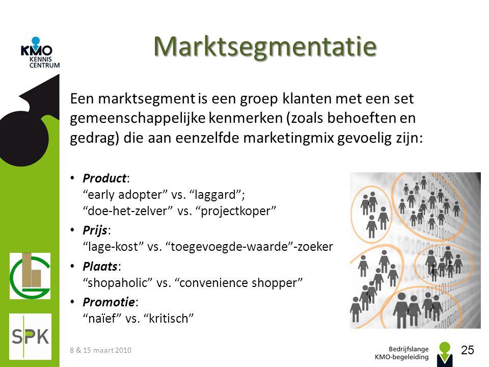 Marktsegmentatie Een marktsegment is een groep klanten met een set gemeenschappelijke kenmerken (zoals behoeften en gedrag) die aan eenzelfde marketin