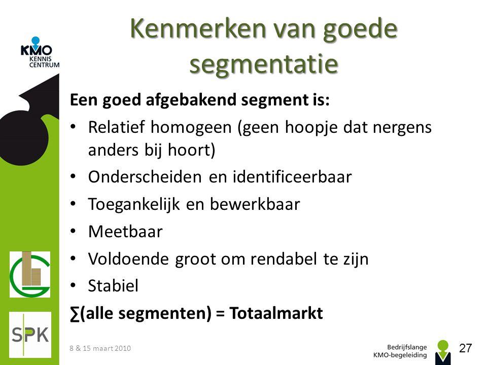 Kenmerken van goede segmentatie Een goed afgebakend segment is: • Relatief homogeen (geen hoopje dat nergens anders bij hoort) • Onderscheiden en iden