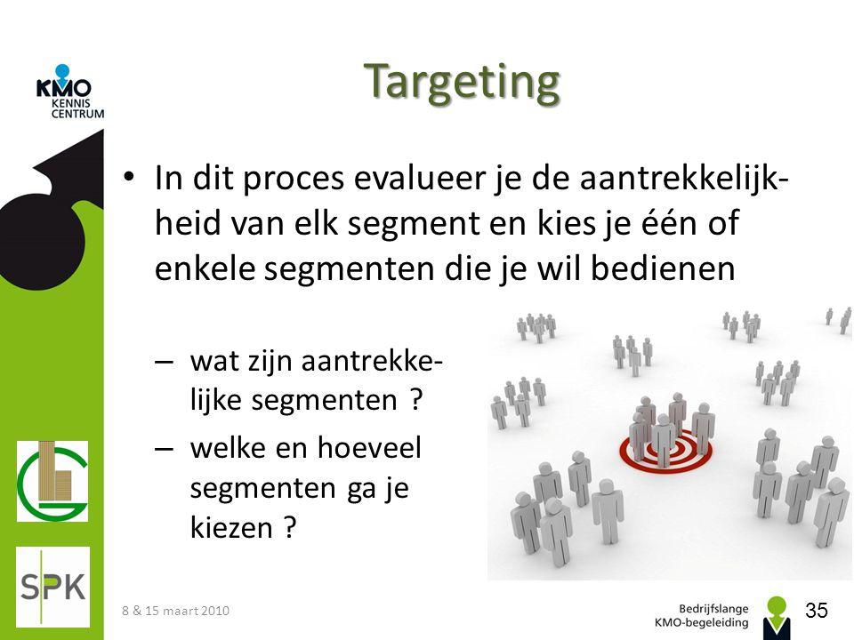 Targeting • In dit proces evalueer je de aantrekkelijk- heid van elk segment en kies je één of enkele segmenten die je wil bedienen – wat zijn aantrek