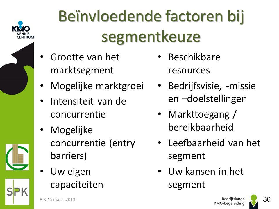 Beïnvloedende factoren bij segmentkeuze • Grootte van het marktsegment • Mogelijke marktgroei • Intensiteit van de concurrentie • Mogelijke concurrent