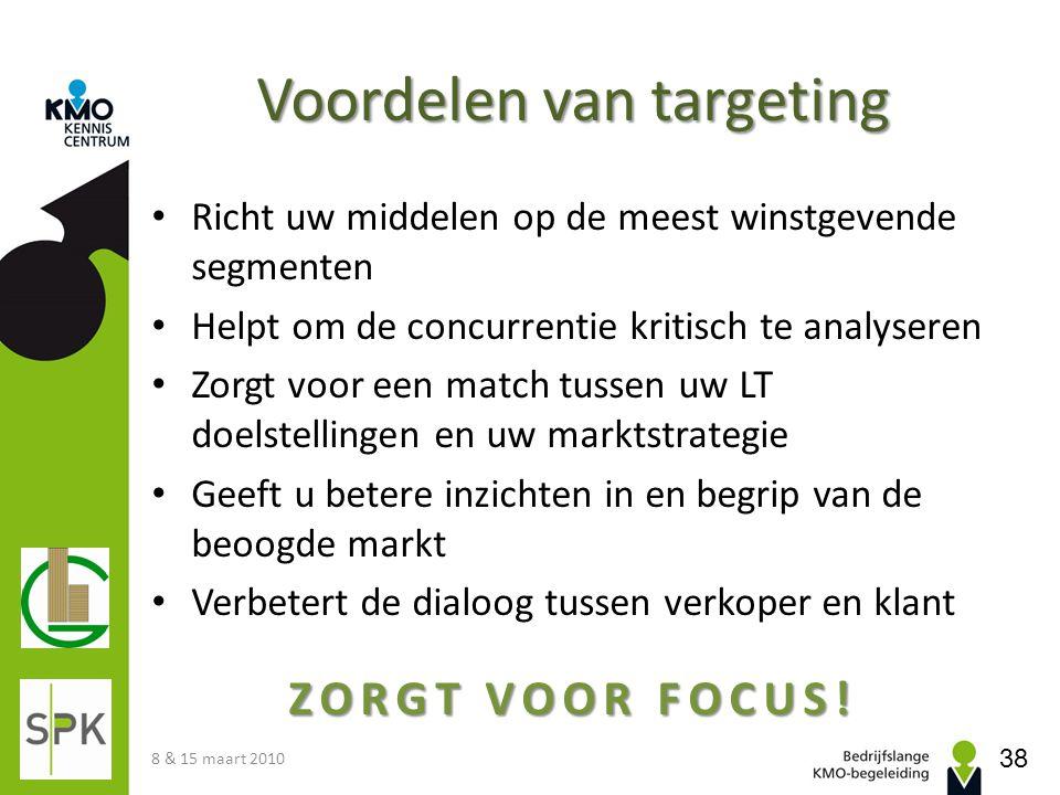 Voordelen van targeting • Richt uw middelen op de meest winstgevende segmenten • Helpt om de concurrentie kritisch te analyseren • Zorgt voor een matc