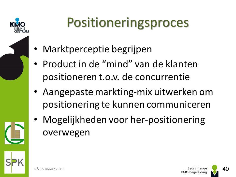 """Positioneringsproces • Marktperceptie begrijpen • Product in de """"mind"""" van de klanten positioneren t.o.v. de concurrentie • Aangepaste markting-mix ui"""