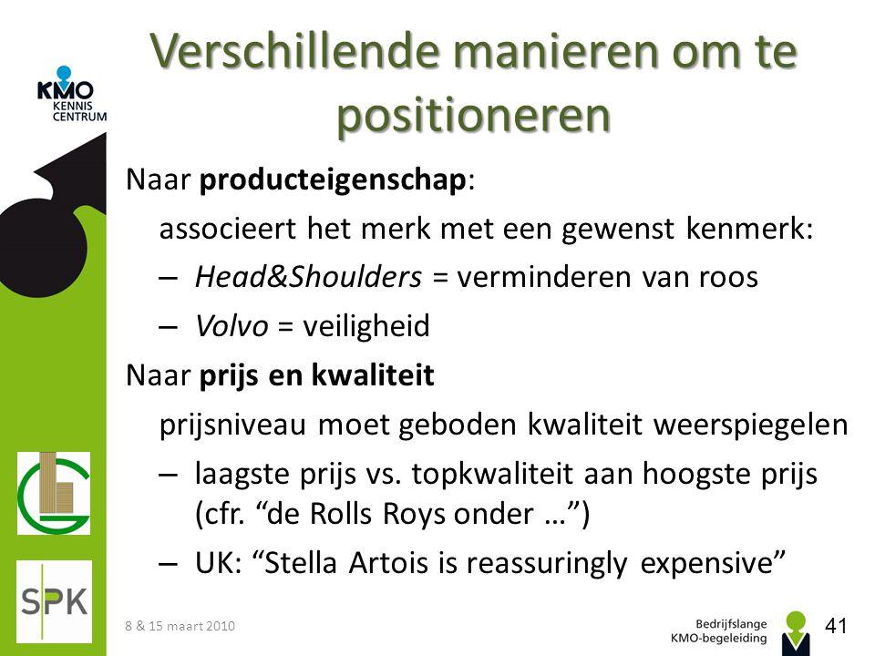 Verschillende manieren om te positioneren Naar producteigenschap: associeert het merk met een gewenst kenmerk: – Head&Shoulders = verminderen van roos