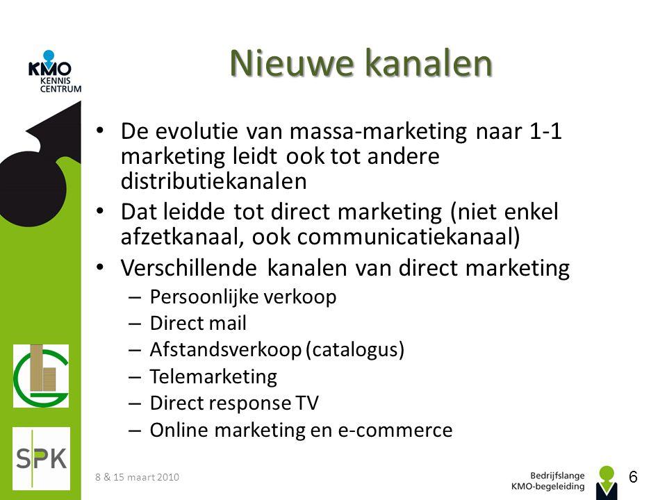 Nieuwe kanalen • De evolutie van massa-marketing naar 1-1 marketing leidt ook tot andere distributiekanalen • Dat leidde tot direct marketing (niet en