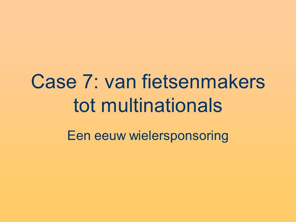 Case 7: van fietsenmakers tot multinationals Een eeuw wielersponsoring