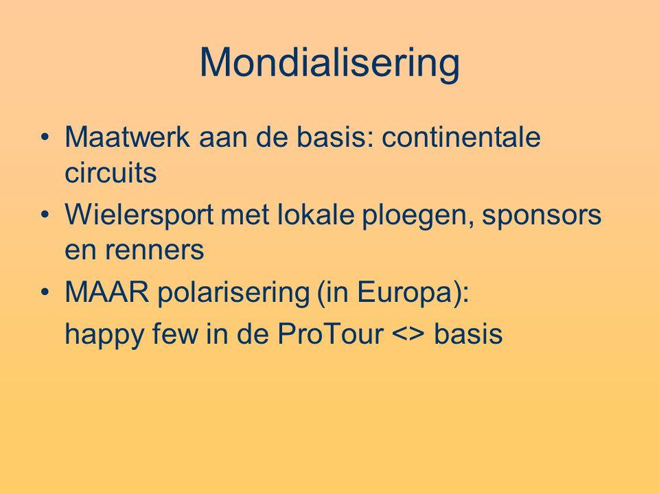 Mondialisering •Maatwerk aan de basis: continentale circuits •Wielersport met lokale ploegen, sponsors en renners •MAAR polarisering (in Europa): happy few in de ProTour <> basis