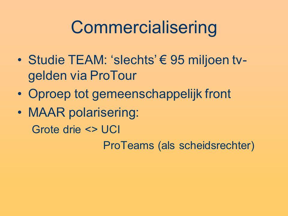 Commercialisering •Studie TEAM: 'slechts' € 95 miljoen tv- gelden via ProTour •Oproep tot gemeenschappelijk front •MAAR polarisering: Grote drie <> UCI ProTeams (als scheidsrechter)
