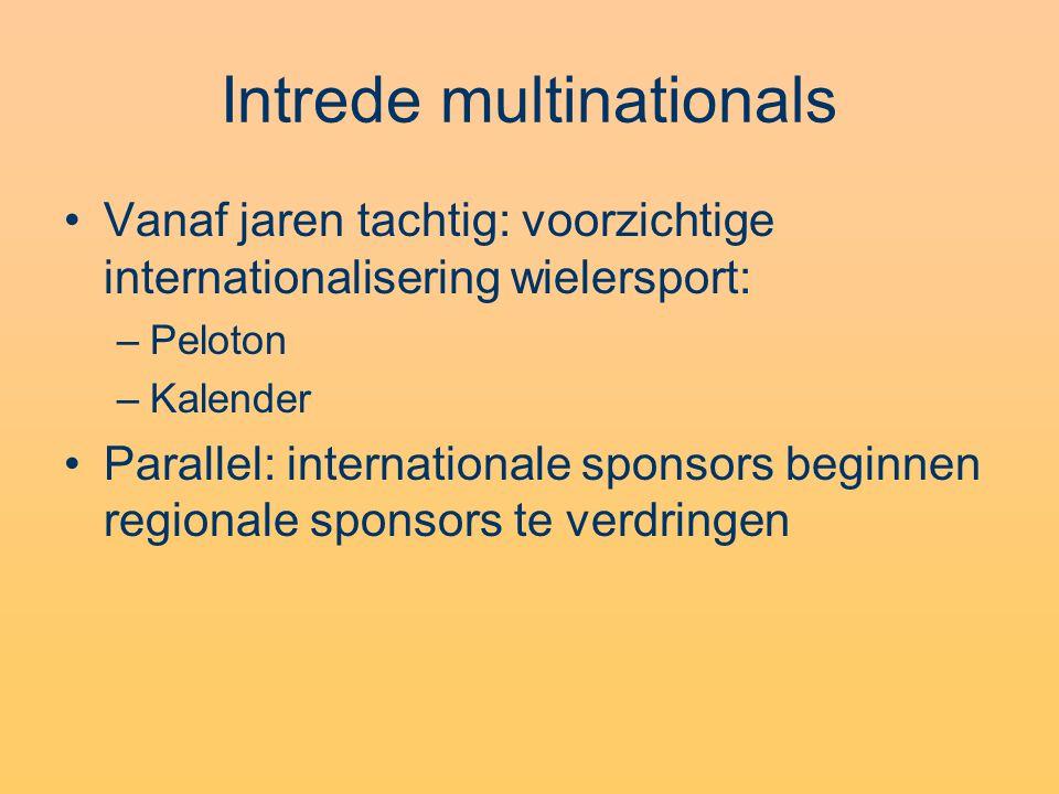 Intrede multinationals •Vanaf jaren tachtig: voorzichtige internationalisering wielersport: –Peloton –Kalender •Parallel: internationale sponsors beginnen regionale sponsors te verdringen