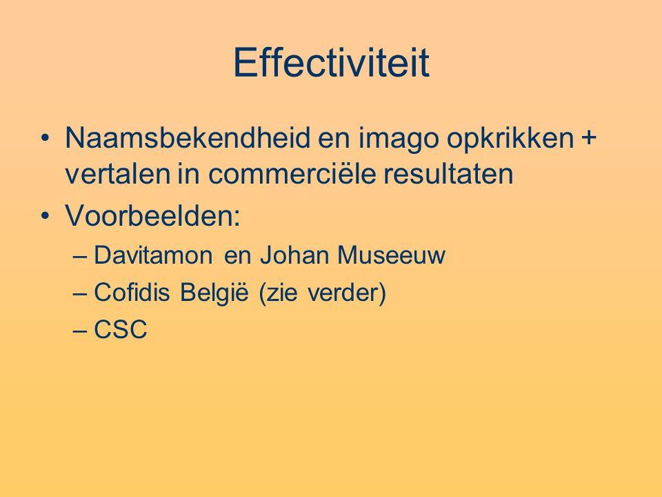 Effectiviteit •Naamsbekendheid en imago opkrikken + vertalen in commerciële resultaten •Voorbeelden: –Davitamon en Johan Museeuw –Cofidis België (zie verder) –CSC
