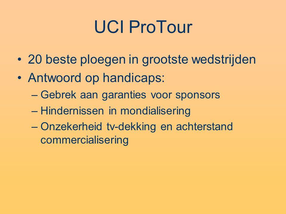 UCI ProTour •20 beste ploegen in grootste wedstrijden •Antwoord op handicaps: –Gebrek aan garanties voor sponsors –Hindernissen in mondialisering –Onzekerheid tv-dekking en achterstand commercialisering