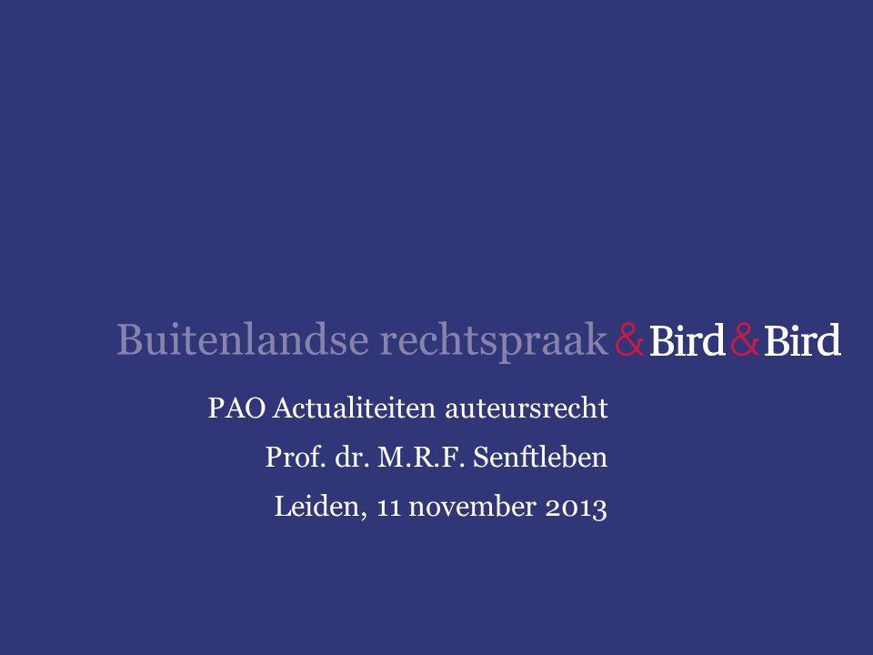 Buitenlandse rechtspraak PAO Actualiteiten auteursrecht Prof. dr. M.R.F. Senftleben Leiden, 11 november 2013