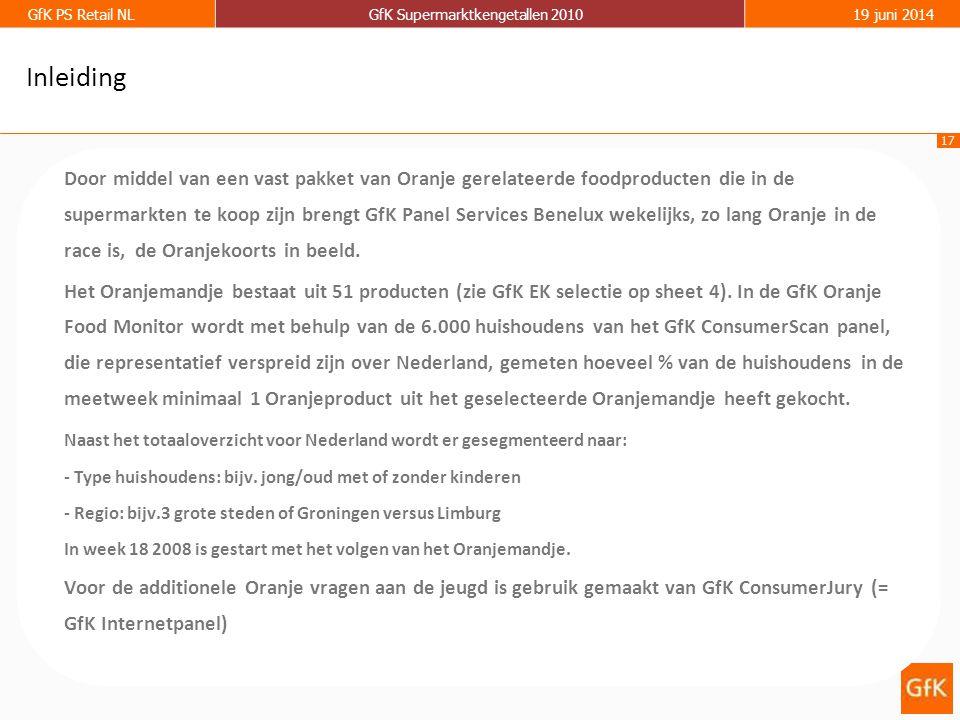 17 GfK PS Retail NLGfK Supermarktkengetallen 201019 juni 2014 Inleiding Door middel van een vast pakket van Oranje gerelateerde foodproducten die in de supermarkten te koop zijn brengt GfK Panel Services Benelux wekelijks, zo lang Oranje in de race is, de Oranjekoorts in beeld.