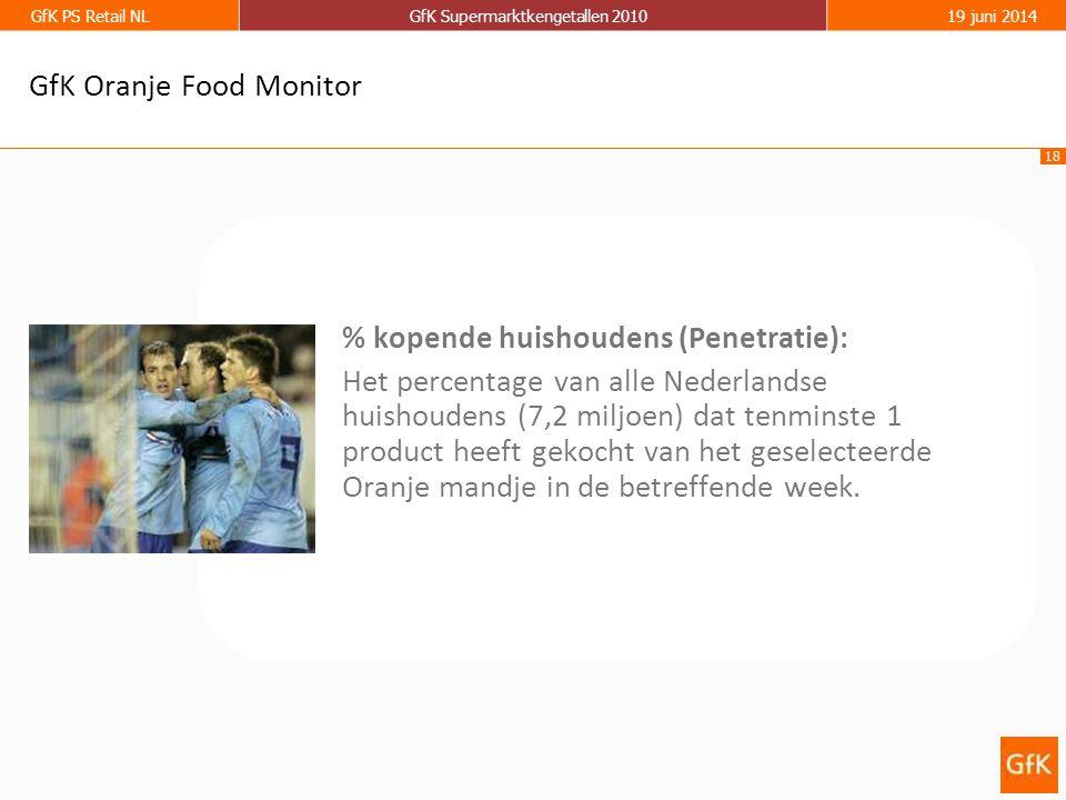 18 GfK PS Retail NLGfK Supermarktkengetallen 201019 juni 2014 % kopende huishoudens (Penetratie): Het percentage van alle Nederlandse huishoudens (7,2 miljoen) dat tenminste 1 product heeft gekocht van het geselecteerde Oranje mandje in de betreffende week.