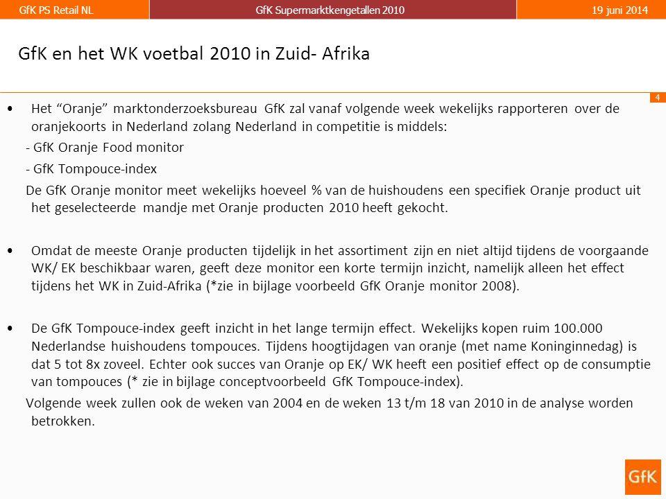 """4 GfK PS Retail NLGfK Supermarktkengetallen 201019 juni 2014 GfK en het WK voetbal 2010 in Zuid- Afrika •Het """"Oranje"""" marktonderzoeksbureau GfK zal va"""