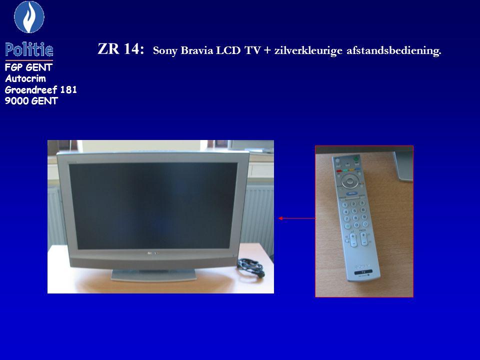 ZR 14: Sony Bravia LCD TV + zilverkleurige afstandsbediening.