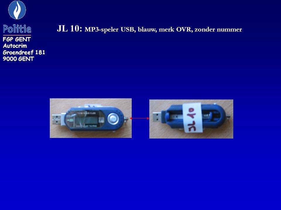 JL 10: MP3-speler USB, blauw, merk OVR, zonder nummer FGP GENT Autocrim Groendreef 181 9000 GENT