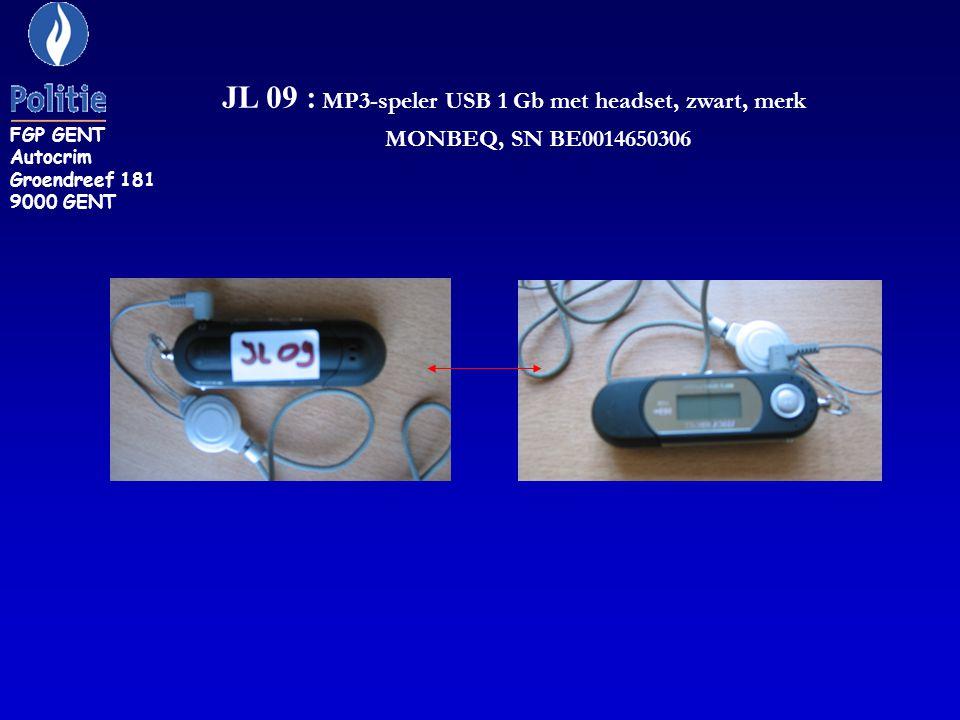 FGP GENT Autocrim Groendreef 181 9000 GENT JL 09 : MP3-speler USB 1 Gb met headset, zwart, merk MONBEQ, SN BE0014650306