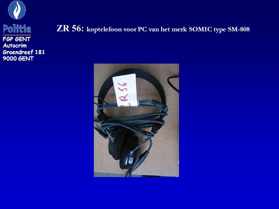 ZR 56: koptelefoon voor PC van het merk SOMIC type SM-808 FGP GENT Autocrim Groendreef 181 9000 GENT