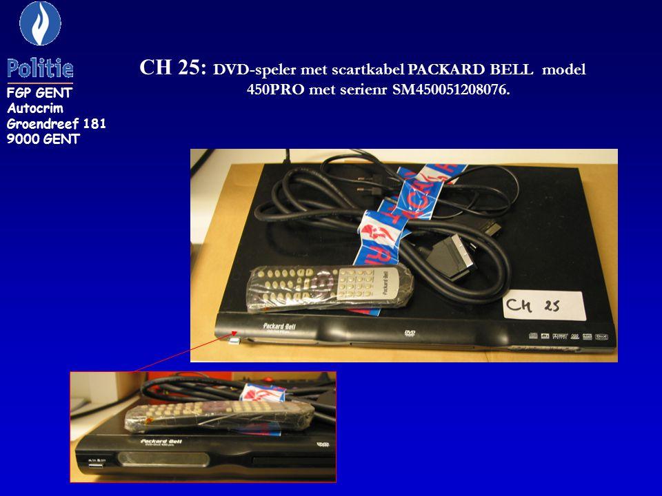 CH 25: DVD-speler met scartkabel PACKARD BELL model 450PRO met serienr SM450051208076.