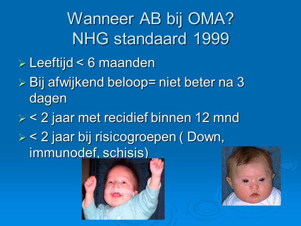 Wanneer AB bij OMA? NHG standaard 1999  Leeftijd < 6 maanden  Bij afwijkend beloop= niet beter na 3 dagen  < 2 jaar met recidief binnen 12 mnd  <
