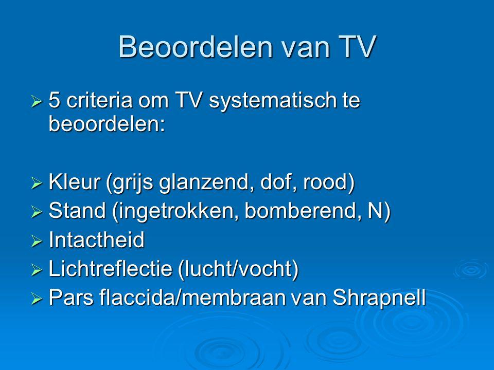 Beoordelen van TV  5 criteria om TV systematisch te beoordelen:  Kleur (grijs glanzend, dof, rood)  Stand (ingetrokken, bomberend, N)  Intactheid