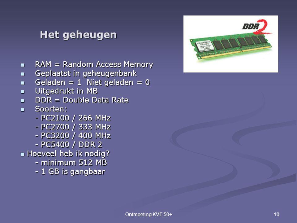 10Ontmoeting KVE 50+ Het geheugen  RAM = Random Access Memory  Geplaatst in geheugenbank  Geladen = 1 Niet geladen = 0  Uitgedrukt in MB  DDR = D