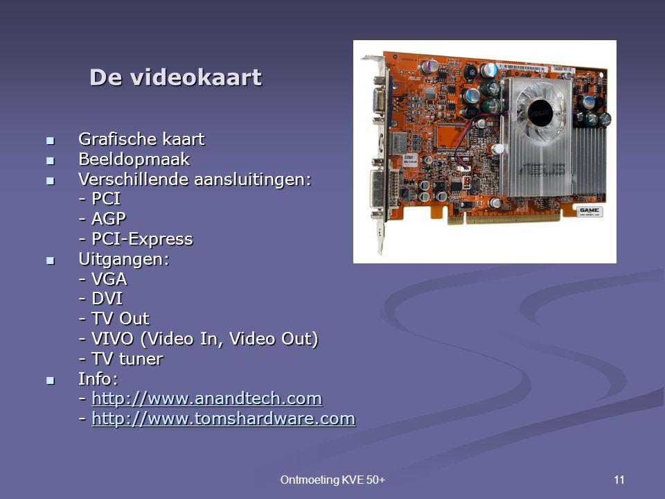 11Ontmoeting KVE 50+ De videokaart  Grafische kaart  Beeldopmaak  Verschillende aansluitingen: - PCI - AGP - PCI-Express  Uitgangen: - VGA - DVI -