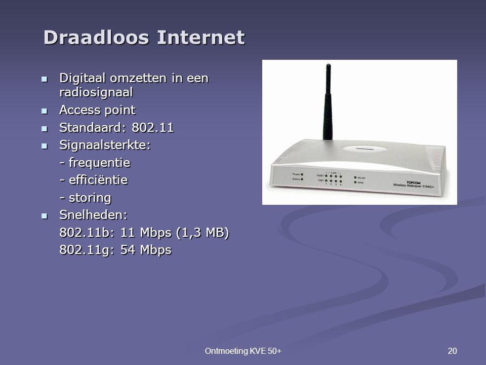 20Ontmoeting KVE 50+  Digitaal omzetten in een radiosignaal  Access point  Standaard: 802.11  Signaalsterkte: - frequentie - efficiëntie - storing