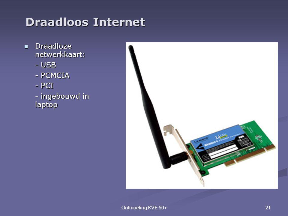 21Ontmoeting KVE 50+  Draadloze netwerkkaart: - USB - PCMCIA - PCI - ingebouwd in laptop Draadloos Internet