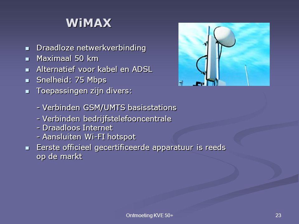 23Ontmoeting KVE 50+  Draadloze netwerkverbinding  Maximaal 50 km  Alternatief voor kabel en ADSL  Snelheid: 75 Mbps  Toepassingen zijn divers: -