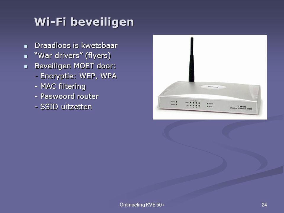 """24Ontmoeting KVE 50+  Draadloos is kwetsbaar  """"War drivers"""" (flyers)  Beveiligen MOET door: - Encryptie: WEP, WPA - MAC filtering - Paswoord router"""