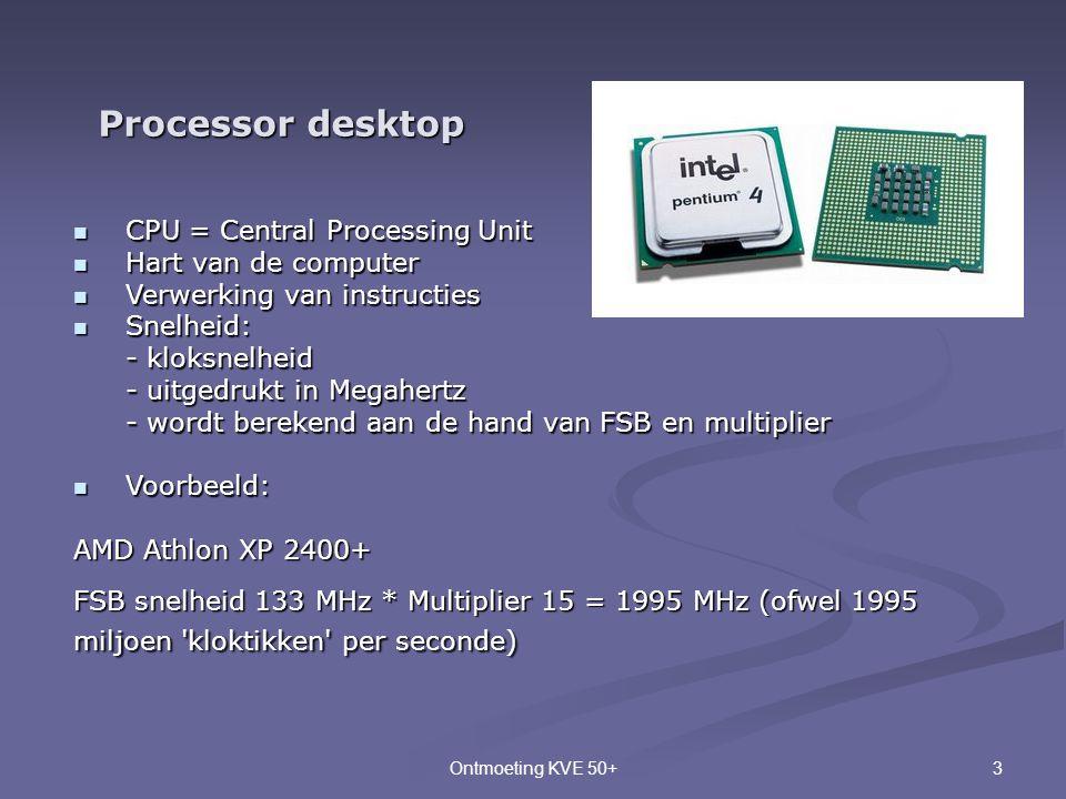 3Ontmoeting KVE 50+ Processor desktop  CPU = Central Processing Unit  Hart van de computer  Verwerking van instructies  Snelheid: - kloksnelheid -