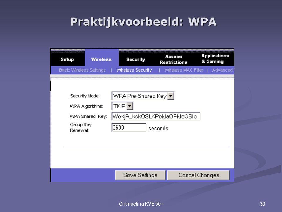 30Ontmoeting KVE 50+ Praktijkvoorbeeld: WPA