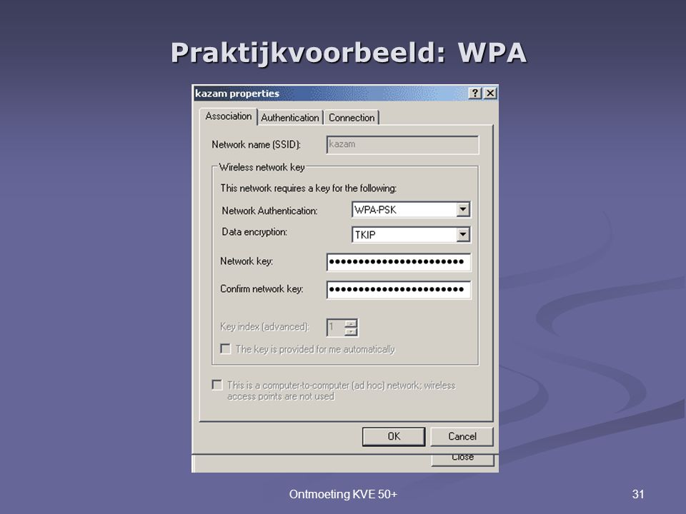 31Ontmoeting KVE 50+ Praktijkvoorbeeld: WPA