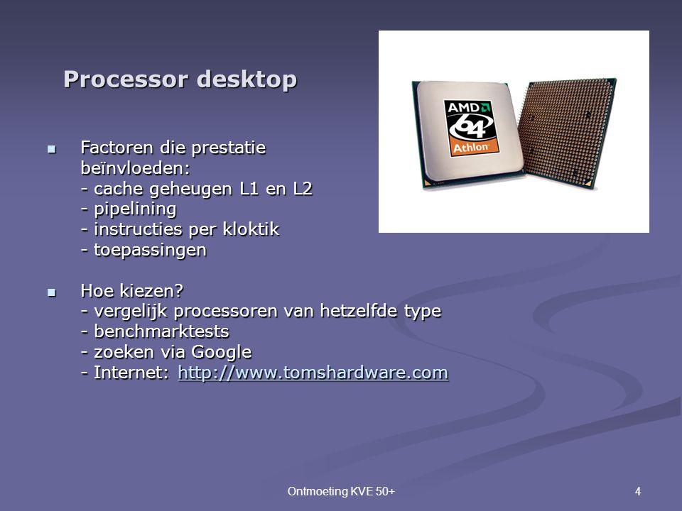 4Ontmoeting KVE 50+ Processor desktop  Factoren die prestatie beïnvloeden: - cache geheugen L1 en L2 - pipelining - instructies per kloktik - toepass