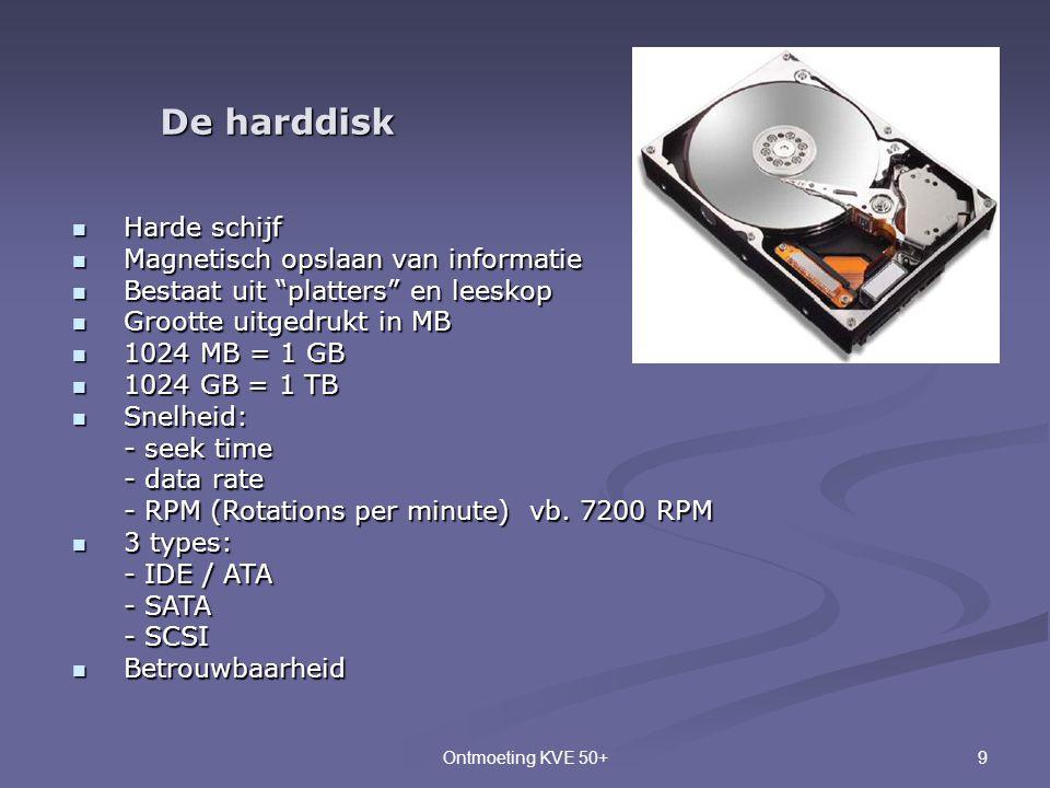"""9Ontmoeting KVE 50+ De harddisk  Harde schijf  Magnetisch opslaan van informatie  Bestaat uit """"platters"""" en leeskop  Grootte uitgedrukt in MB  10"""