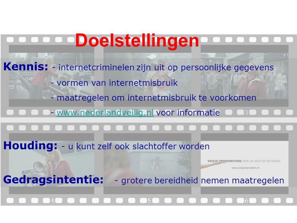 Doelstellingen Kennis: - internetcriminelen zijn uit op persoonlijke gegevens - vormen van internetmisbruik - maatregelen om internetmisbruik te voork