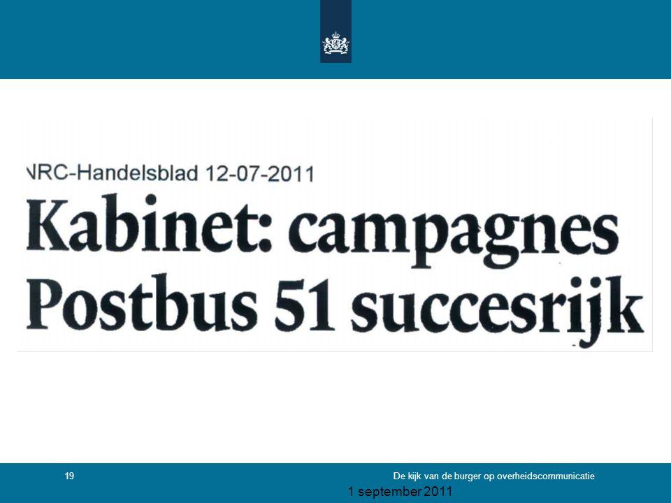 1 september 2011 De kijk van de burger op overheidscommunicatie19