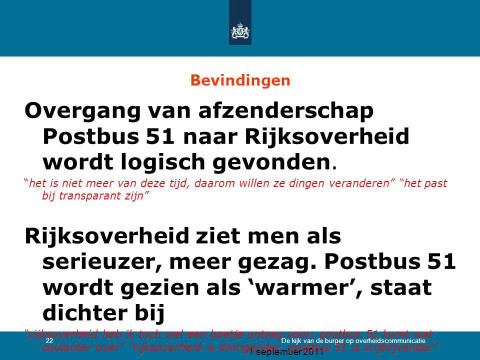 1 september 2011 De kijk van de burger op overheidscommunicatie22 Bevindingen Overgang van afzenderschap Postbus 51 naar Rijksoverheid wordt logisch g