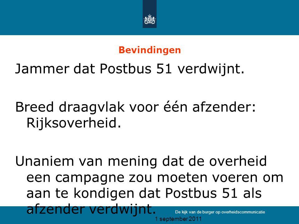 1 september 2011 De kijk van de burger op overheidscommunicatie23 Bevindingen Jammer dat Postbus 51 verdwijnt. Breed draagvlak voor één afzender: Rijk